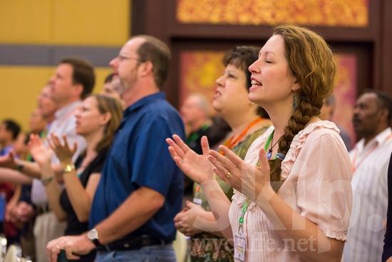 European;ICON;Look!2012;SIL International Conference;Swedish;Wycliffe Global Gathering;hand raised;sing;woman