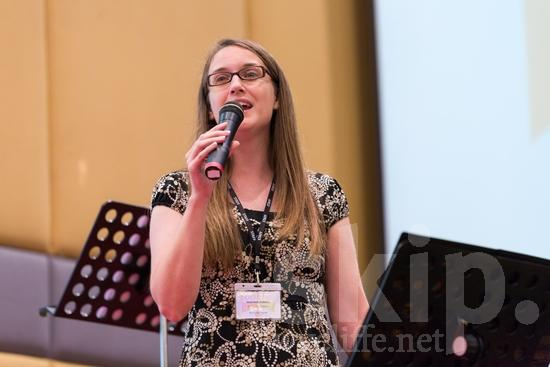 American;ICON;Look!2012;North American;SIL International Conference;Wycliffe Global Gathering;microphone;sing;woman