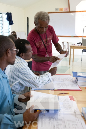 BTA;Bible Translators;Class;Classroom;Highlands;Learning;Man;Melanesian;Men;PNG;Pacific;Pacific Islands;Papua New Guinea;People;Students;Teacher;Translator Training;Translators;Ukarumpa;geo: PNG