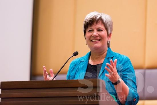 European;German;ICON;Look!2012;SIL International Conference;Wycliffe Global Gathering;microphone;smile;talking;woman