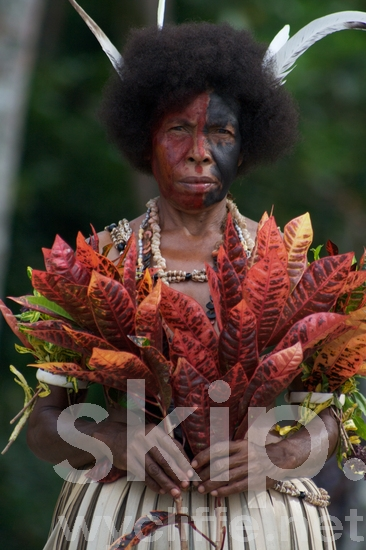 Costume;Dancer;Face Paint;Feathers;Female;Gapapaiwa;Melanesian;PNG;Pacific;Pacific Islands;Papua New Guinea;People;Traditional;Traditional Dress;Woman