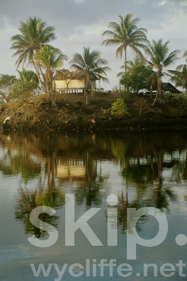 House;Hut;Island;Kikima;Landscape;Melanesian;Ocean;Oro Province;PNG;Pacific;Pacific Islands;Palm Trees;Palms;Papua New Guinea;Reflection;Reflections;River;Scenic;Village;Water