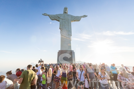 Americas;Blue;Brazil;Icon;Sky;Statue;Tourists