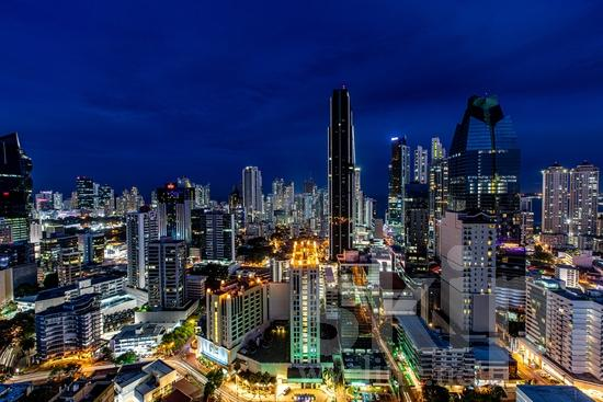 Central America;Panama City;buildings;lights;night;night time;traffic
