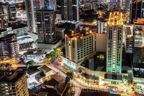 Central America;Panama City;buildings;lights;night time;traffic