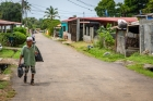 Panama;houses;man;street;walki
