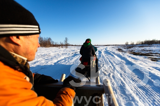 Russia;Russian;Salekhard;Siberia;man;sled;snow;snowmobile